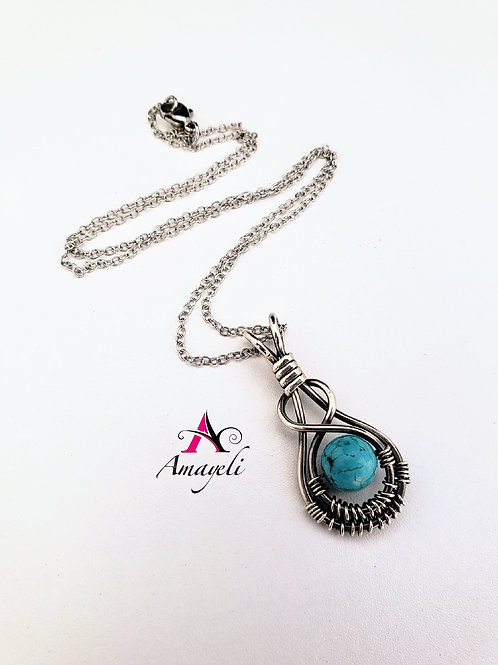 Gemstone pendant sterling silver wire wrapped necklace choose gemstone.