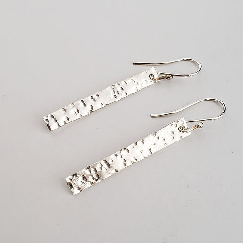Sterling silver rectangle hammered earrings