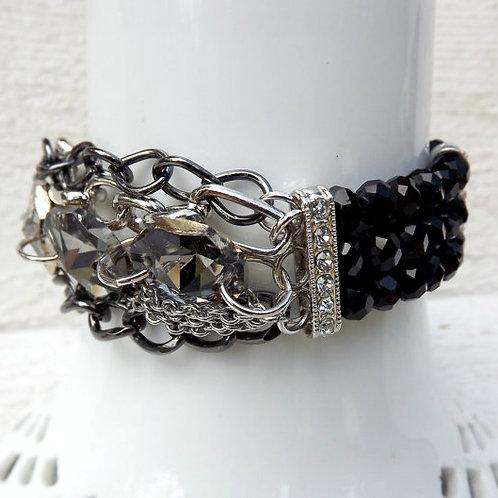 Chunky chain and crystal stretch bracelet