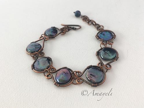 Pearl bracelet peacock freshwater pearl copper link bracelet