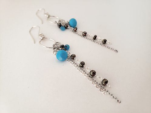 Sterling silver sleeping beauty turquoise and pyrite long hoop chain earrings