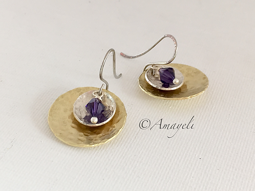 Mixed metal silver and brass disc earrings amethyst crystal