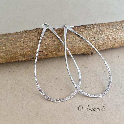 Sterling silver teardrop hoop earrings hammered handmade