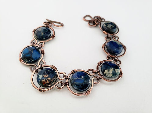 Imperial jasper coin bead copper link bracelet