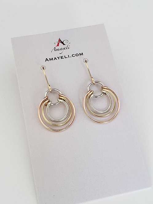 Mixed metal earrings gold silver and rose gold