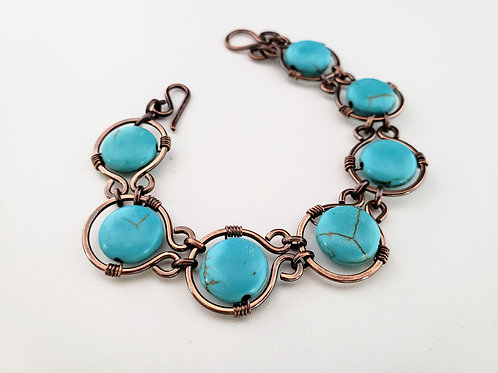 Turquoise and copper bracelet howlite coin gemstones