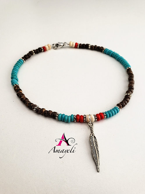 Beaded anklet bracelet silver feather charm