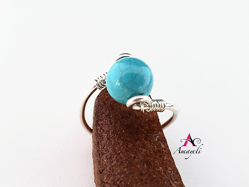 Genuine turquoise ring choose metal sterling gold or rose gold