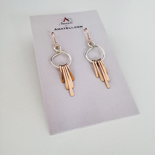 Mixed metal earrings silver and rose gold