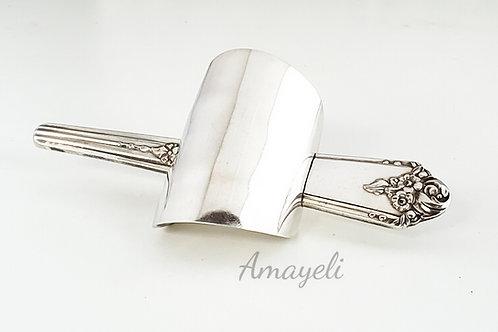 Ponytail cuff antique vintage silver flatware spoon handmade