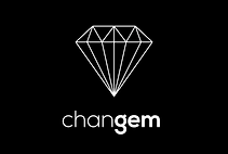 The changem logo. A white diamond on a black background.