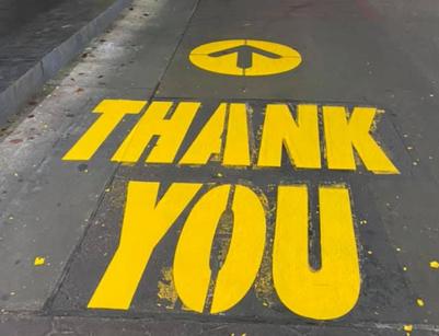 Parking Lot Paint Stencil Thank You