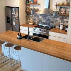 timber bench kitchen