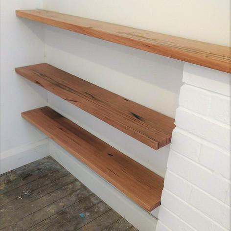 timber floating shelves