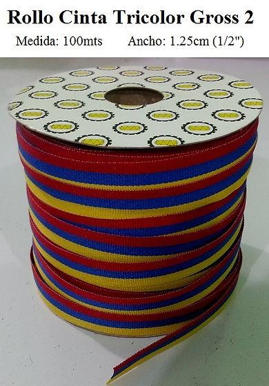rollo cinta tricolor gross 2 de 100 metros