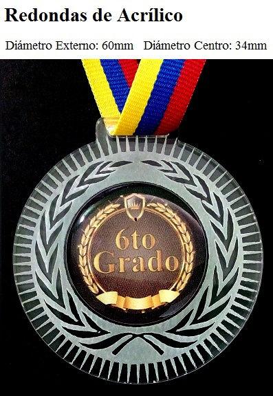 Medalla Redonda de Acrilico pre-escolar sexto grado progranasa