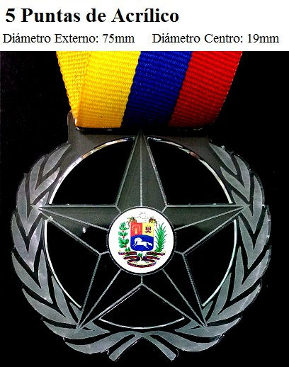 Medalla 5 puntas de acrilico promociones eventos deportivo progranasa