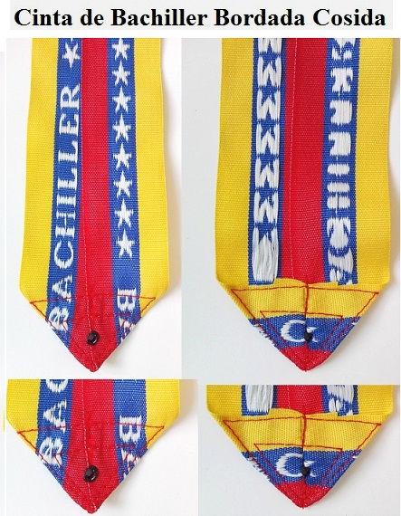 Cinta para medallas azul tricolor bachiller bordada cosida progranasa