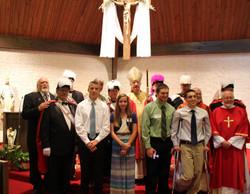 Bishops Bransfield,Fr Bill, Deacon Larry, Confirmandi Knights
