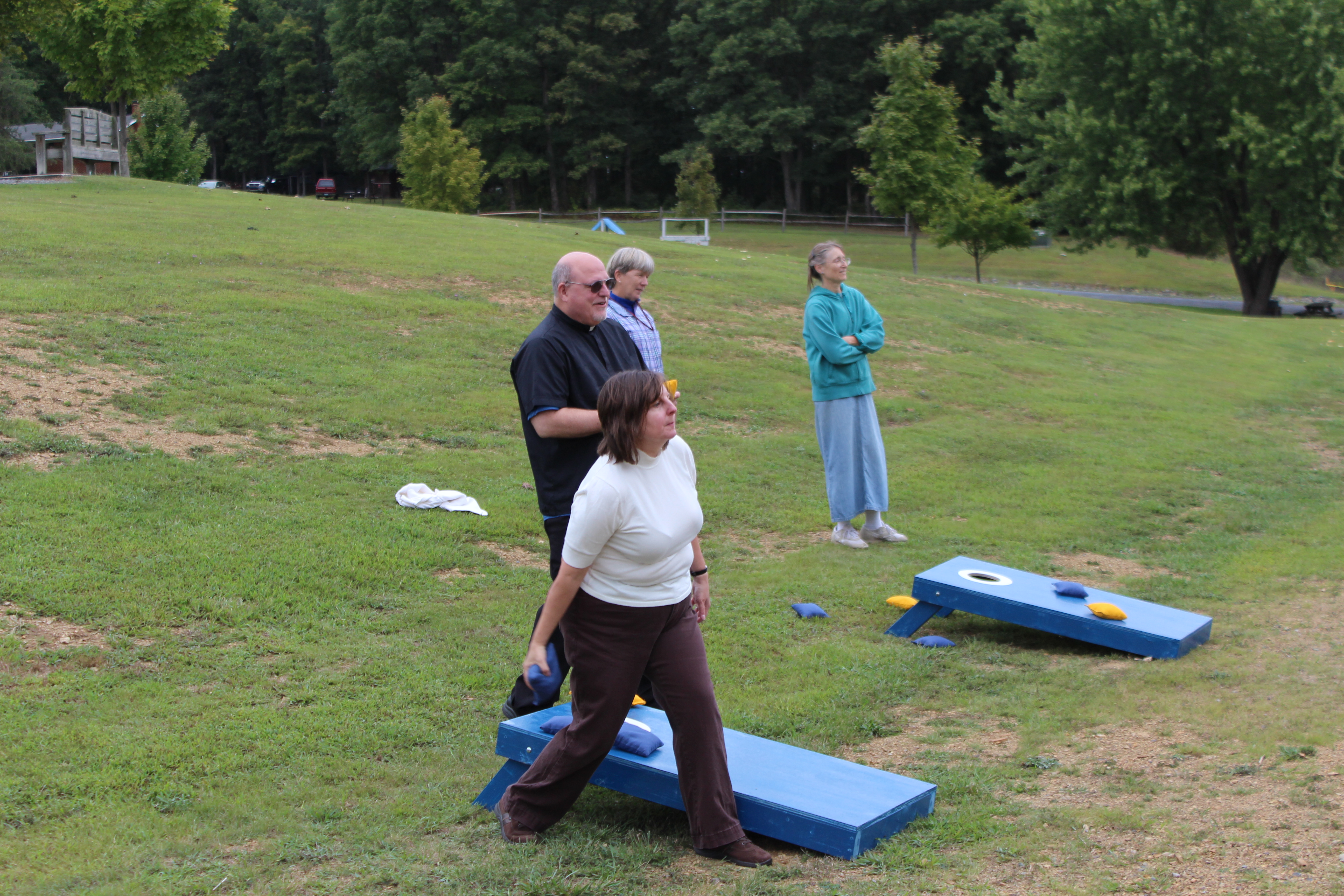 Becky C at the corn hole throw