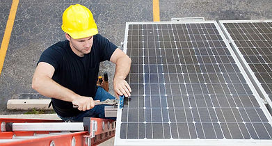 Solar Technician reparing solar panel