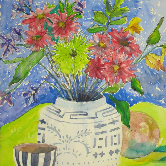 Still-Life-with-Blue-Striped-Bowl,-water