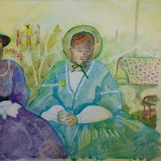 Heritage Ladies, watercolor on gessoed p