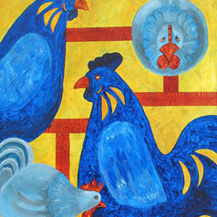 Rooster Reunion 2, 16x20, acr on canvas,