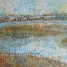 Marsh, 22x10, watercolor on massa, 2017,