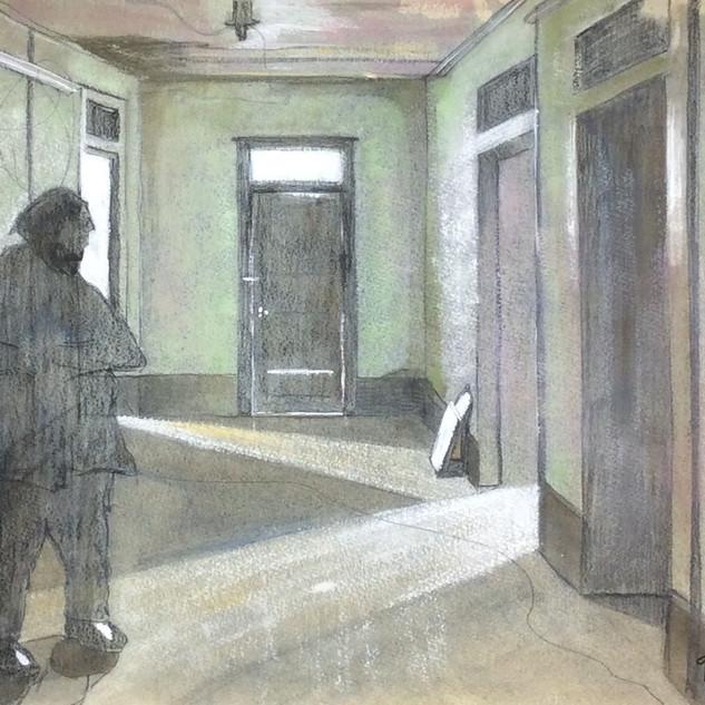 Ghostly Guest, watercolor, 2016, gerri y