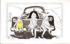 Pat  1950 3 sisters and a car.jpg