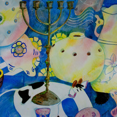Cow and Other Stuff, watercolor on gesso