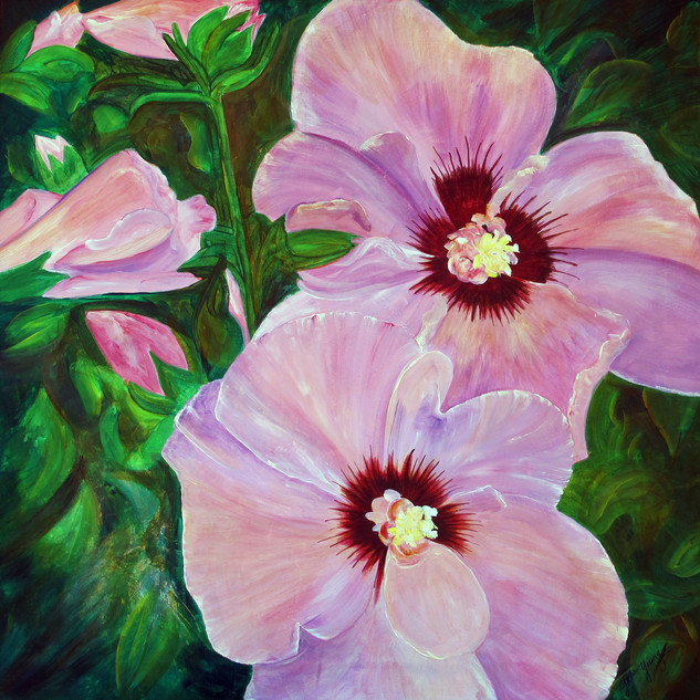 Rose of Sharon, 26x26, acr on canvas, Ma