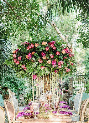 Tree Inspired centerpiece Roses Flowers Miami Florida Georgia Greenery Wedding Dinner Setup
