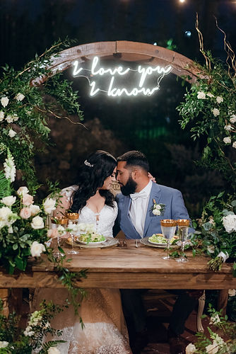 Bride and groom love Wedding Dinner Flowers roses greenery rustic Wooden Arch Sweetheat table Miami Florida Georgia