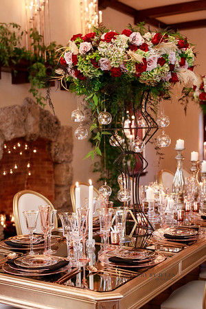 Dinner Party with luxury floral arragements and candles Miami Florida Georgia Wedding