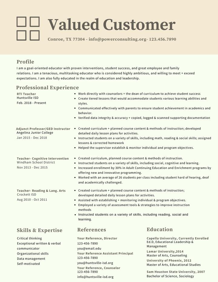 Power Resume