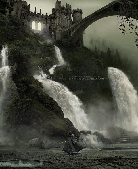 These are by far my favorite kind of designs to create. I love perspective and I wanted to focus on the extremely large size of the actual scenery , so I made the character a lot smaller in order to achieve the look I was going for. My main focus here was to draw the attention straight towards the waterfalls