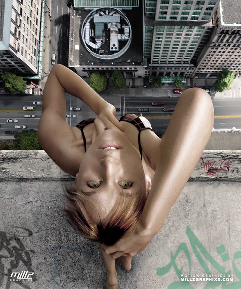 Perspective shot....wanted to go for something more dramatic with the city down below. Original stock photo of girl was taken by: Kime Stock