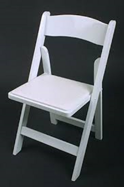 White Folding Chairs with padded seat
