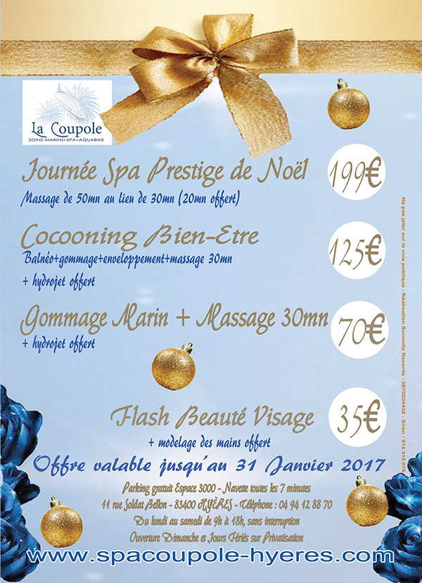 Promotions Noël 2016 Spa La Coupole