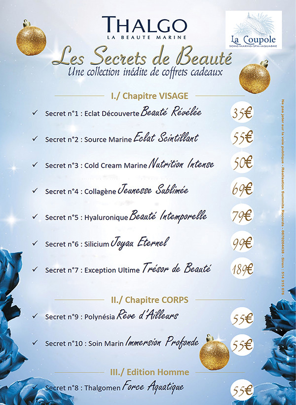 Promotions Spa La Coupole Noël 2016