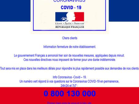 Fermeture pour cause de la Covid-19