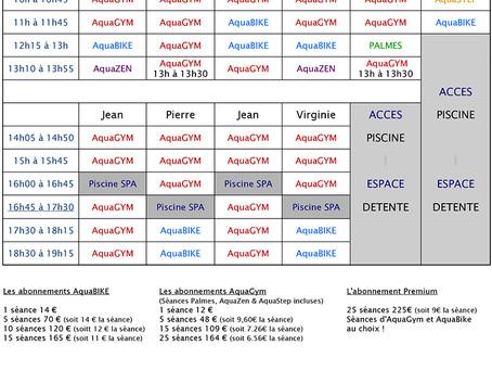 Nouveau planning Aquagym et Aquabike