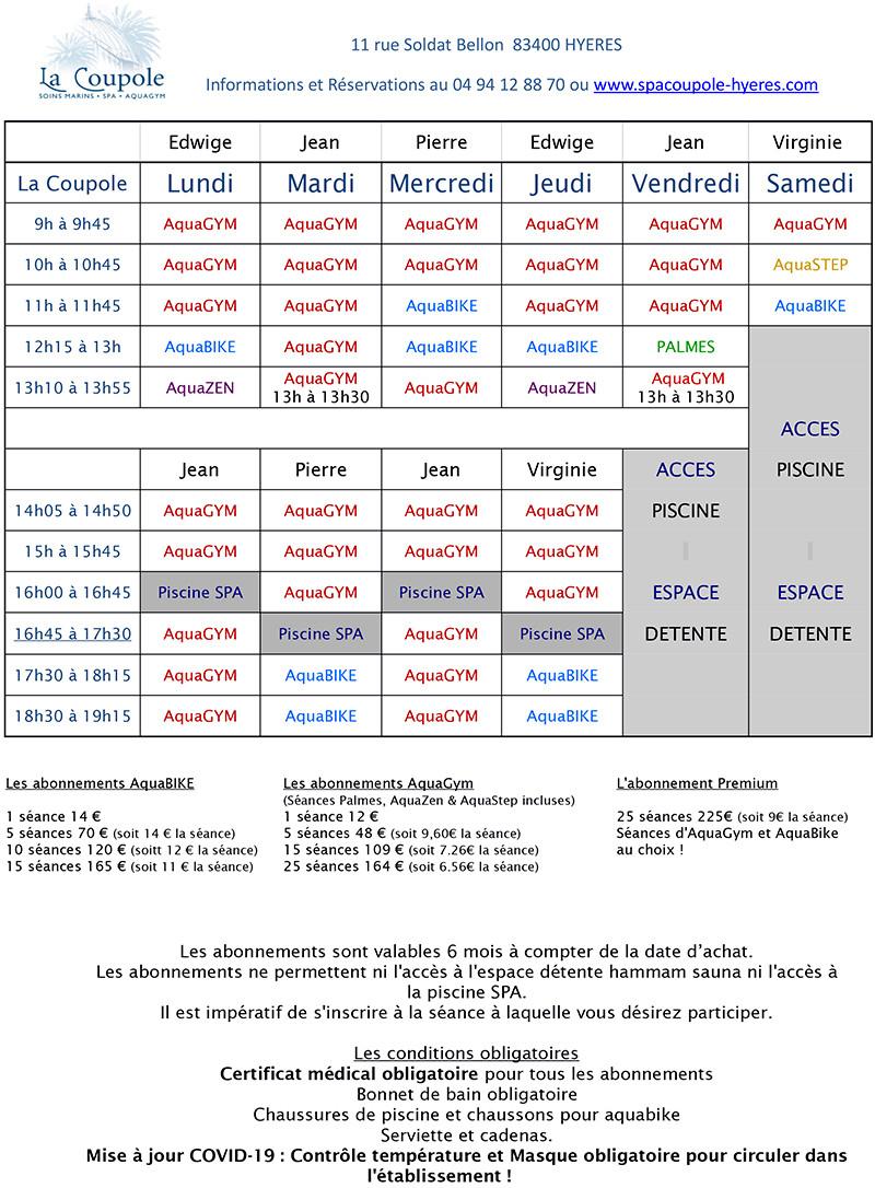 Spa La Coupole à Hyères Planning Aquagym et Aquabike