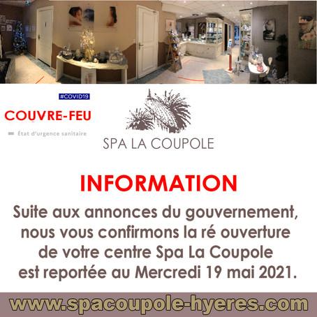réouverture du Spa La Coupole fixée au Mercredi 19 Mai 2021