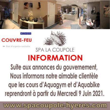Les cours d'Aquabike et d'Aquagym reprendront le Mercredi 9 Juin 2021
