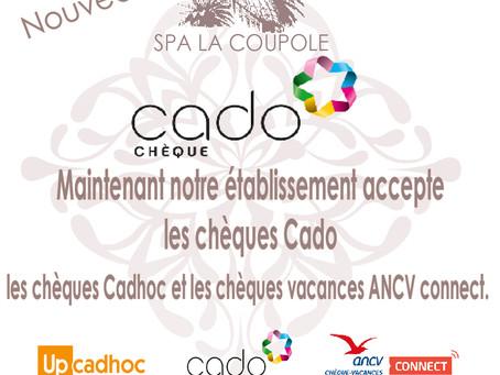 Le Spa La Coupole accepte les chèques Cado.