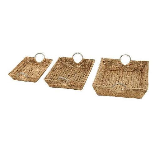 Canastas de pastos marinos con asas de metal, set de 3