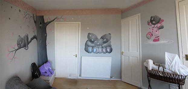 Grey bears, indoor mural